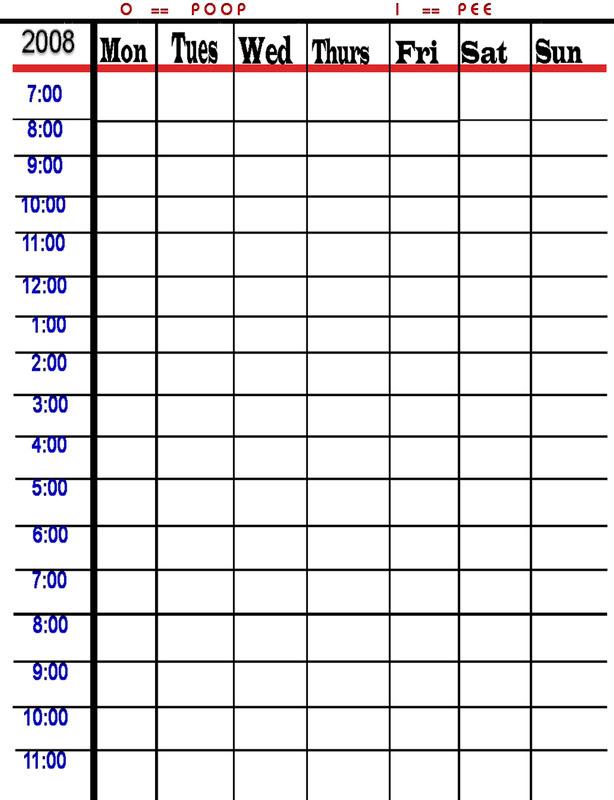 potty training schedule chart